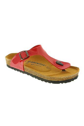 birkenstock chaussures femme de couleur rouge
