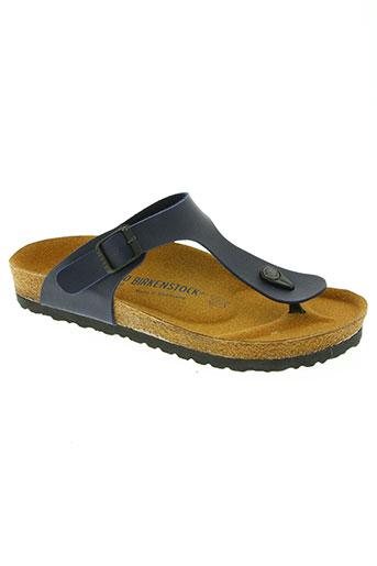 birkenstock chaussures femme de couleur bleu