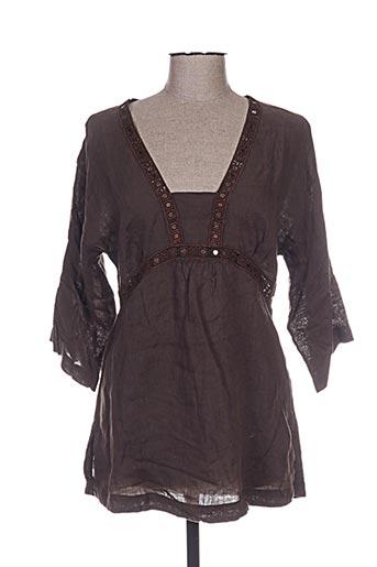120% lino tuniques femme de couleur marron