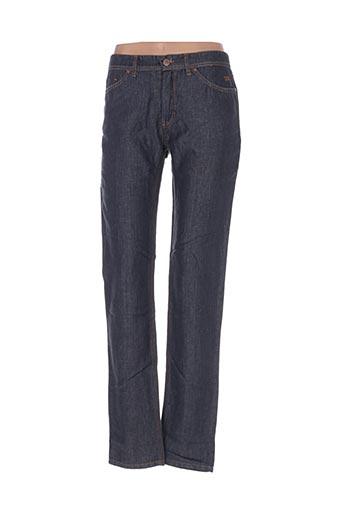 120% lino jeans femme de couleur bleu