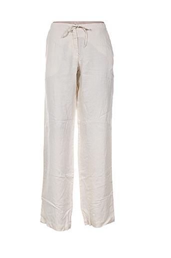120% lino pantalons femme de couleur beige