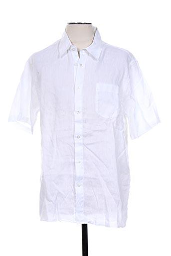 120% lino chemises homme de couleur blanc