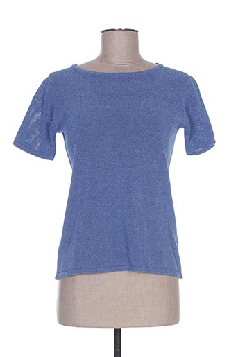 Pull col rond bleu WEINBERG pour femme