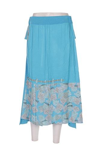 Jupe mi-longue bleu BATISTAME pour femme