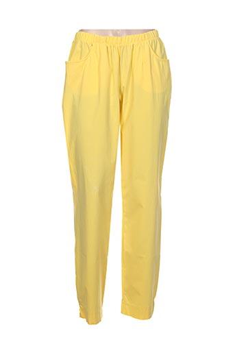 chalou pantalons femme de couleur jaune