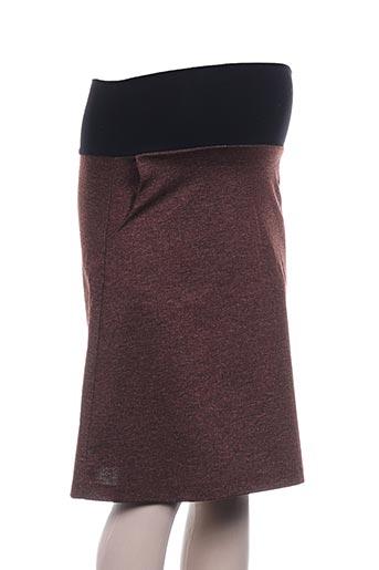 Jupe mi-longue marron FRAGILE pour femme