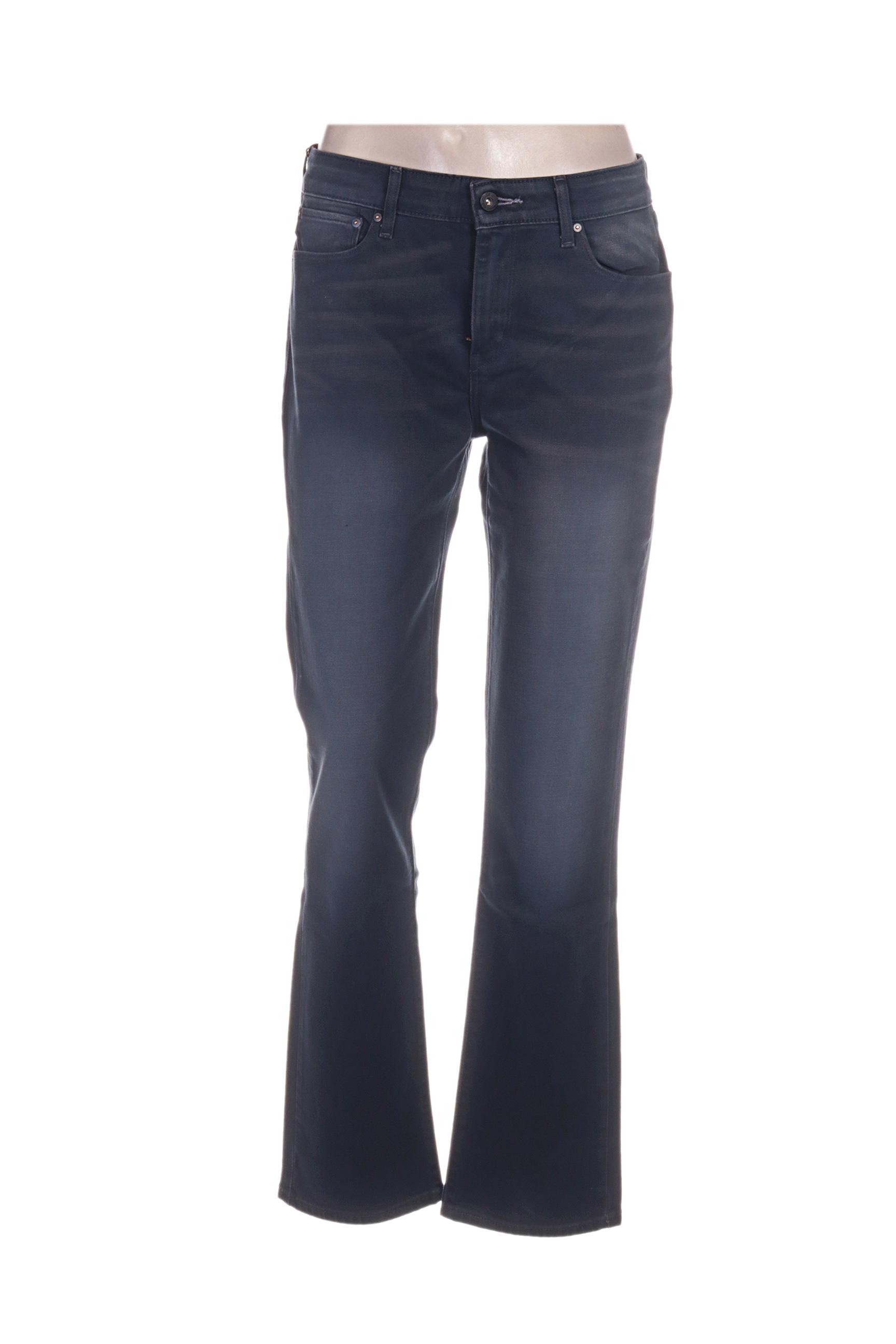 Levis Jeans Coupe Droite Femme De Couleur Bleu En Soldes Pas Cher 1236833-bleu00 - Modz