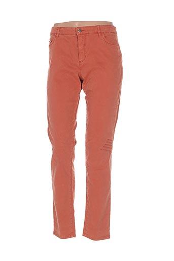 Pantalon casual orange ONE STEP pour femme