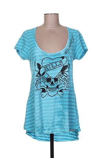 T-shirt manches courtes bleu ED HARDY pour femme