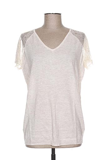 Pull col V beige SO ESSENTIAL pour femme