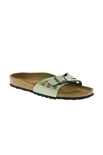 birkenstock chaussures femme de couleur vert