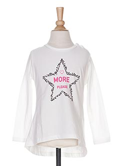 T-shirt manches longues blanc PLEASE pour fille