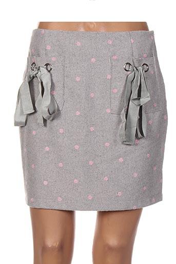 Jupe courte gris DAPHNEA pour femme