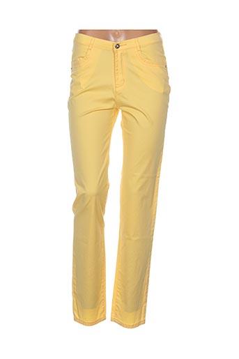 i.quing pantalons femme de couleur jaune