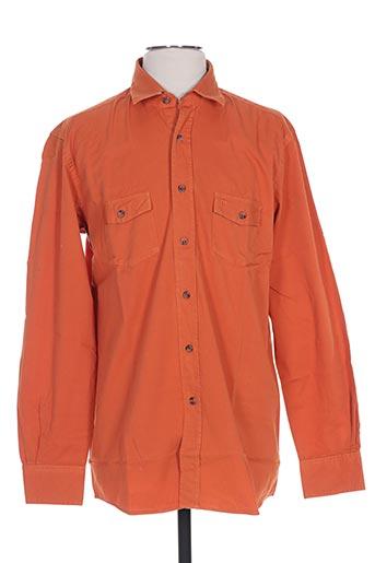 Chemise manches longues orange PIERRE CARDIN pour homme