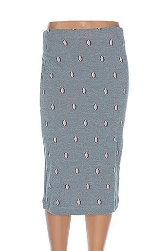 Jupe mi-longue bleu BRIC-A-BRAC pour femme