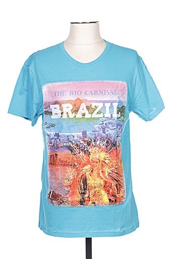 T-shirt manches courtes bleu GIL D'AURAY pour homme