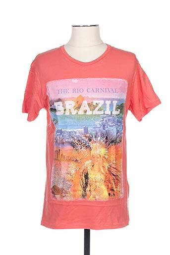 T-shirt manches courtes orange GIL D'AURAY pour homme
