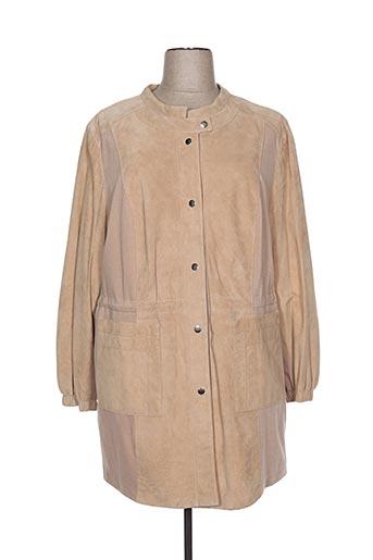 Veste en cuir beige EMILIA LAY pour femme