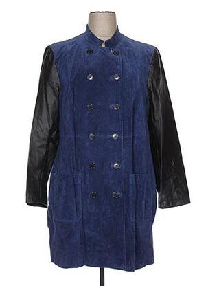 Veste en cuir bleu EMILIA LAY pour femme