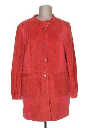 Veste en cuir orange EMILIA LAY pour femme