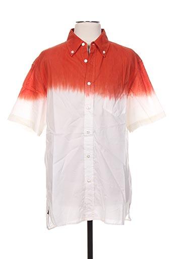 Chemise manches courtes orange GALLIANO pour homme