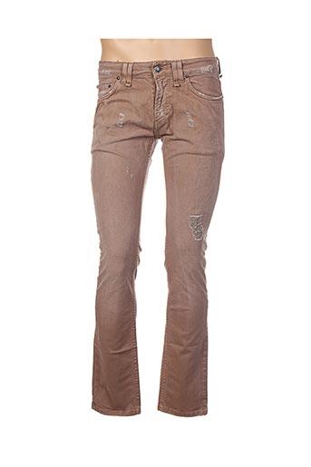 Jeans coupe droite marron GALLIANO pour homme