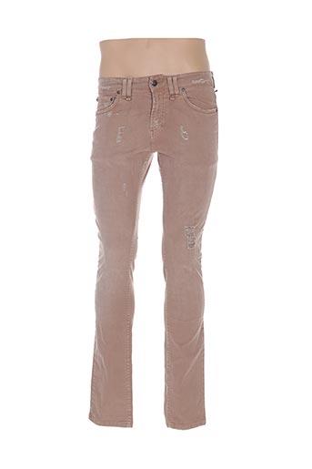Jeans coupe slim marron GALLIANO pour homme