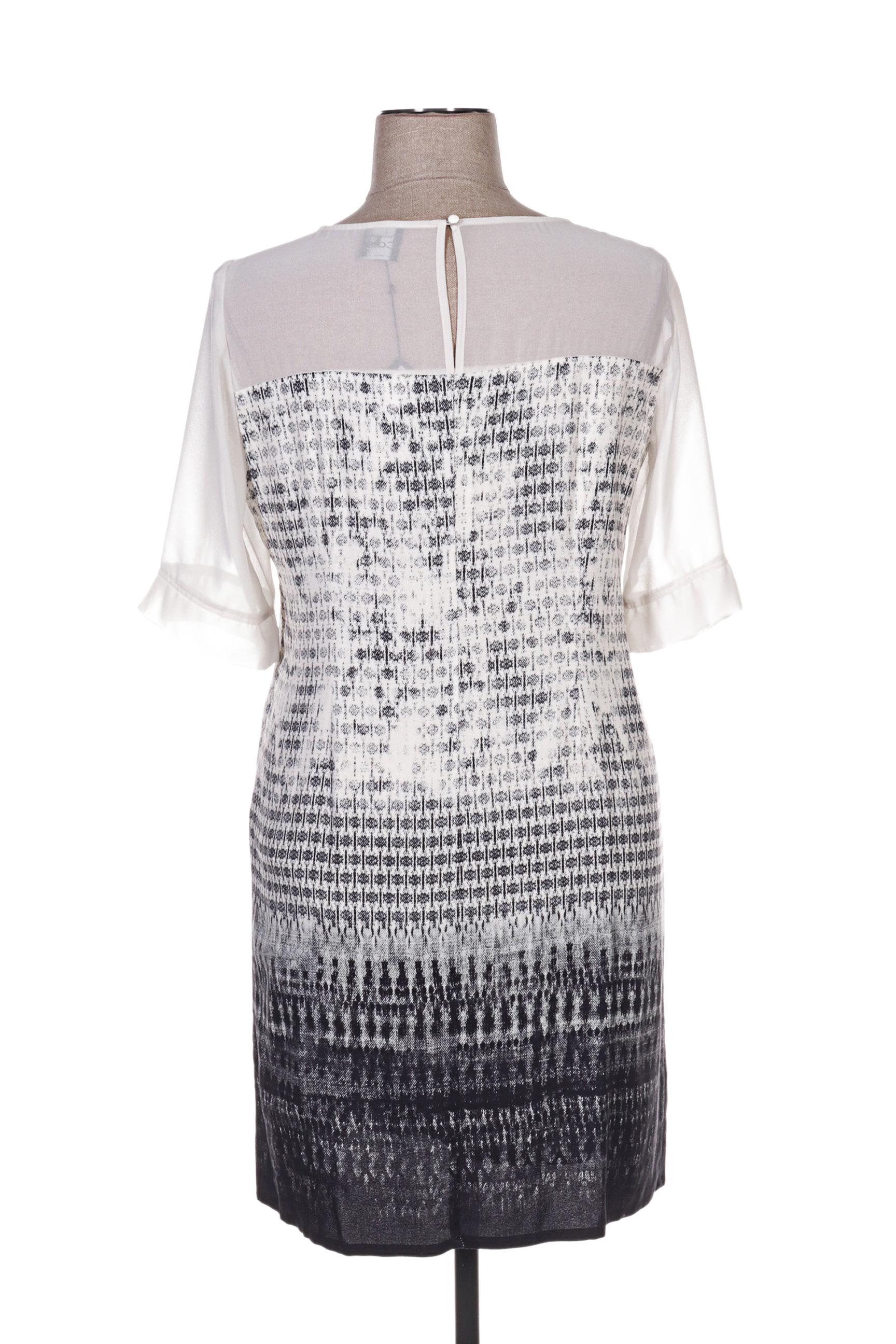 Pause Cafe Robes Mi Longues Femme De Couleur Blanc En Soldes Pas Cher 1291352-blanc0