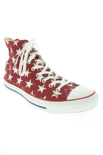 converse chaussures homme de couleur rouge