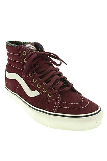 vans chaussures unisexe de couleur rouge