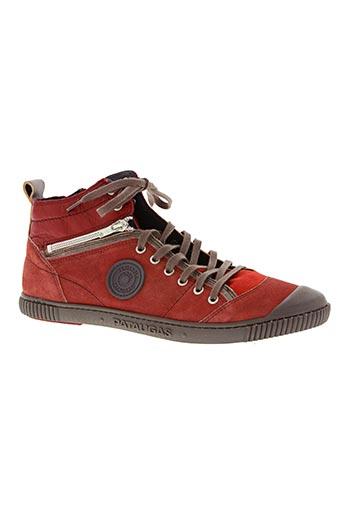 palladium chaussures homme de couleur rouge