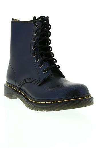 dr martens chaussures femme de couleur bleu