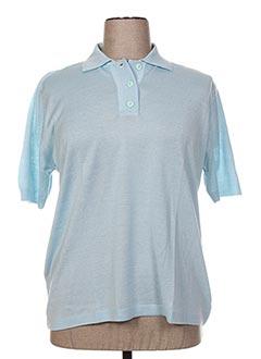 Pull col chemisier bleu FIL & MAILLE pour femme