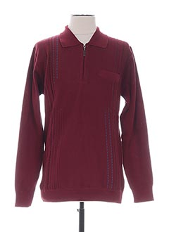 Pull col chemisier rouge LOUIS VICTOR pour homme
