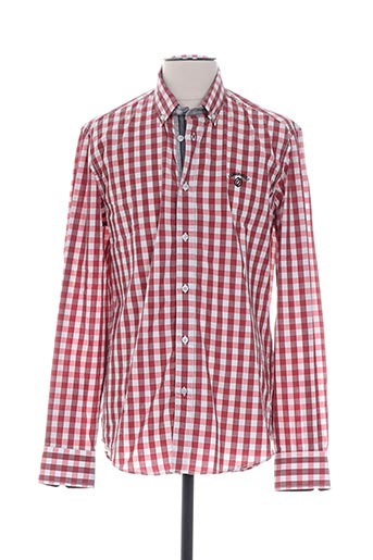 Chemise manches longues rouge CAMBE pour homme
