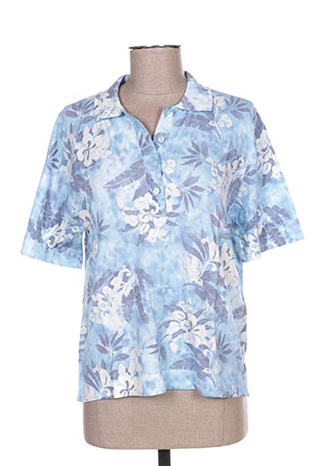 Pull col chemisier bleu EDWIGE pour femme
