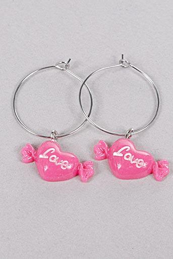 Boucles d'oreilles rose INEL pour femme