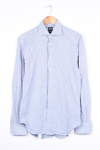 Chemise manches longues bleu BOGGI MILANO pour homme