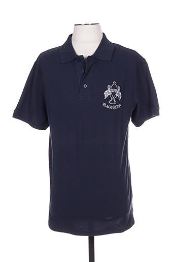 Polo manches courtes bleu FLAGS & CUP pour homme