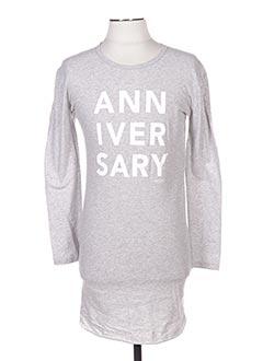 Robe mi-longue gris LITTLE 10 DAYS pour fille