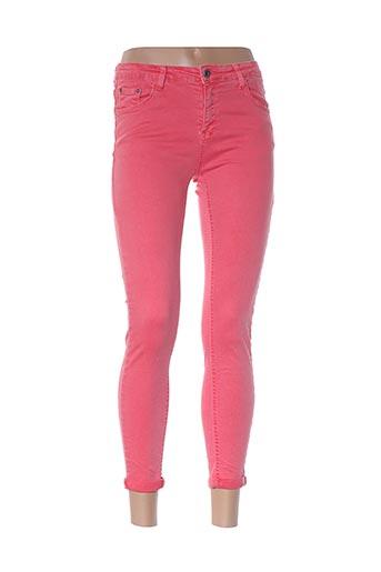 Pantalon 7/8 rose HAND WORK pour femme