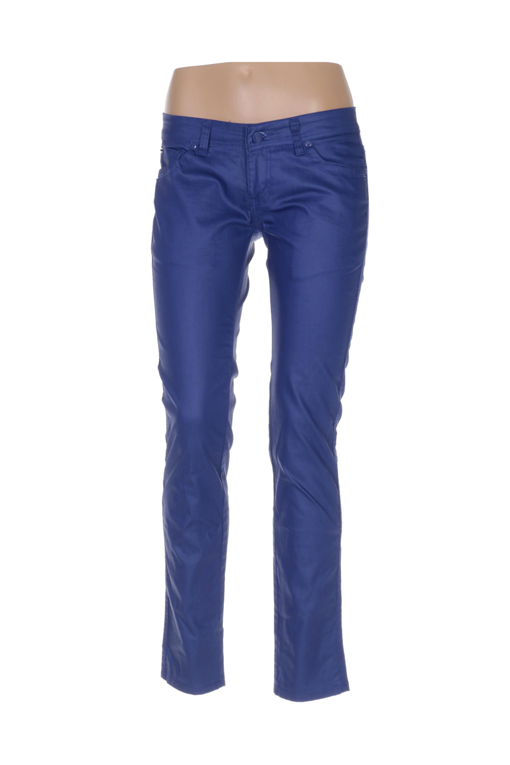 place du jour pantalons decontractes femme de couleur bleu en soldes pas cher 1360901 bleu00 modz