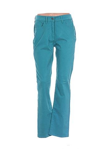 Pantalon casual vert CLAUDE DE SAIVRE pour femme