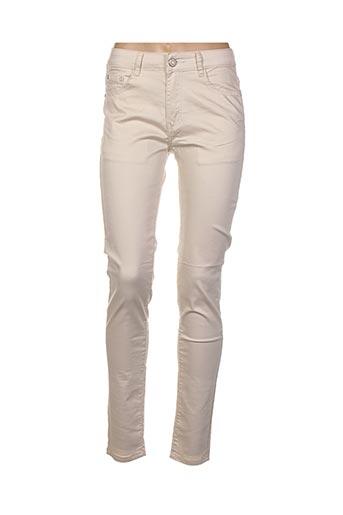 Jeans coupe slim beige BS JEANS pour femme