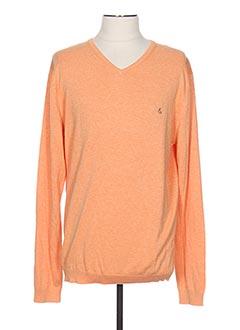 Pull col V orange COLOURS & SONS pour homme