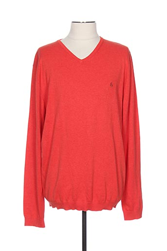 Pull col V rouge COLOURS & SONS pour homme