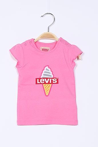 T-shirt manches courtes rose LEVIS pour fille