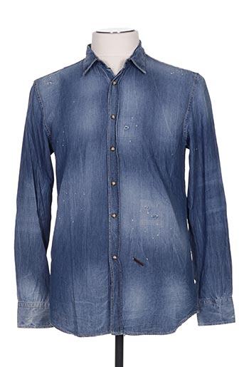 Chemise manches longues bleu FRANCKIE MORELLO pour homme