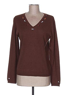 Pull col V marron NICE THINGS pour femme